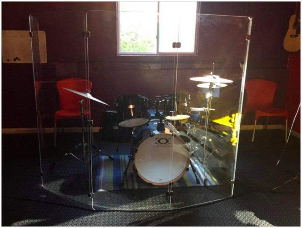 Drum Shield DS4 5 Panels 2 Feet x 5 Feet Chrome Hinges