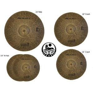 Agean-Cymbals-Silent-Natural-R-Series-Low-Volume-Cymbal-Pack-Box-Set18-Crash