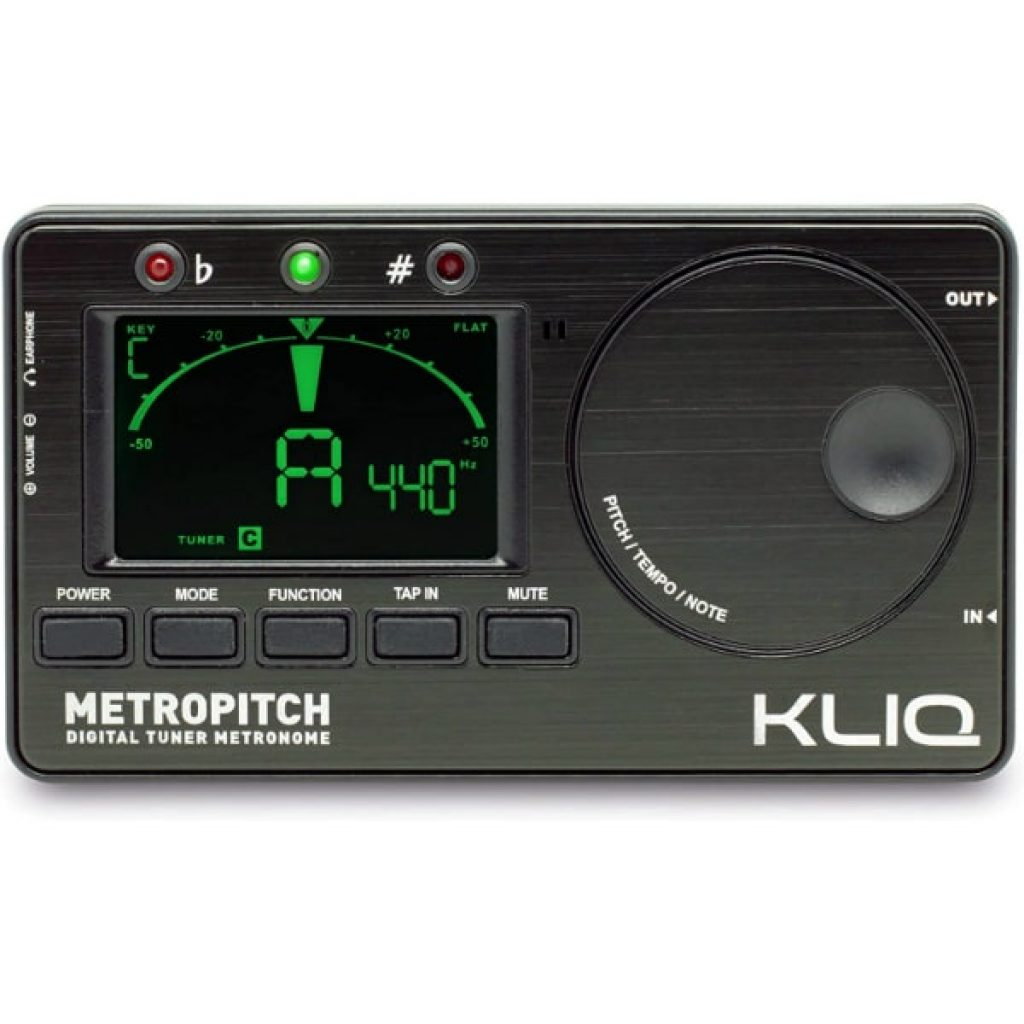 KLIQ-MetroPitch-Metronome-Tuner-for-All-Instruments-with-Guitar-Bass-Violin-Ukulele-and-Chromatic-Tuning-Modes-Tone-Generator-Carrying-Pouch-Included-Black