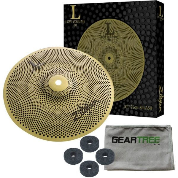 Zildjian-L80-Low-Volume-10-Inch-Splash-Cymbal-w-Geartree-Cloth-and-Cymbal-Felts