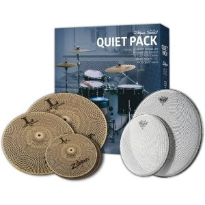Zildjian-L80-Low-Volume-Quiet-Cymbal-Pack-with-Remo-Silentstroke-Drumheads