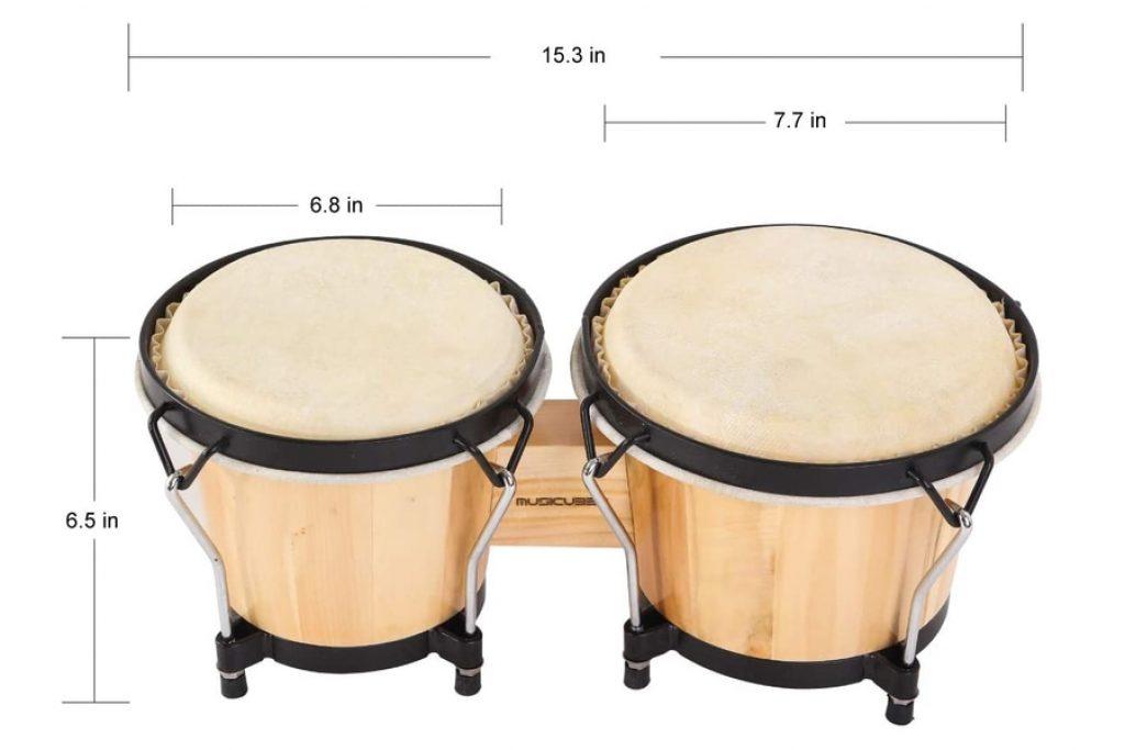MUSICUBE Bongo Drum Set with Tuning Wrench photo 2