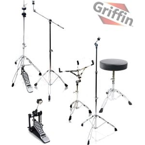 Complete-Drum-Hardware-Pack-6-Piece-Set-by-Griffin-Full-Size-Percussion-Stand-Kit-with-Snare-Hi-Hat-Cymbal-Boom-Throne-Stool-and-Single-Kick-Drum-Pedal-Lightweight-and-Portable