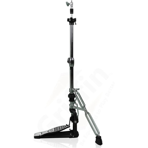 Premium-2-Leg-Hi-Hat-Stand-by-Griffin-Heavy-Duty-Hihat-Cymbal-Foot-Pedal-with-Drum-Key-Folding-Two-Leg-Style-Converts-to-a-No-Leg-High-Hat-Mount