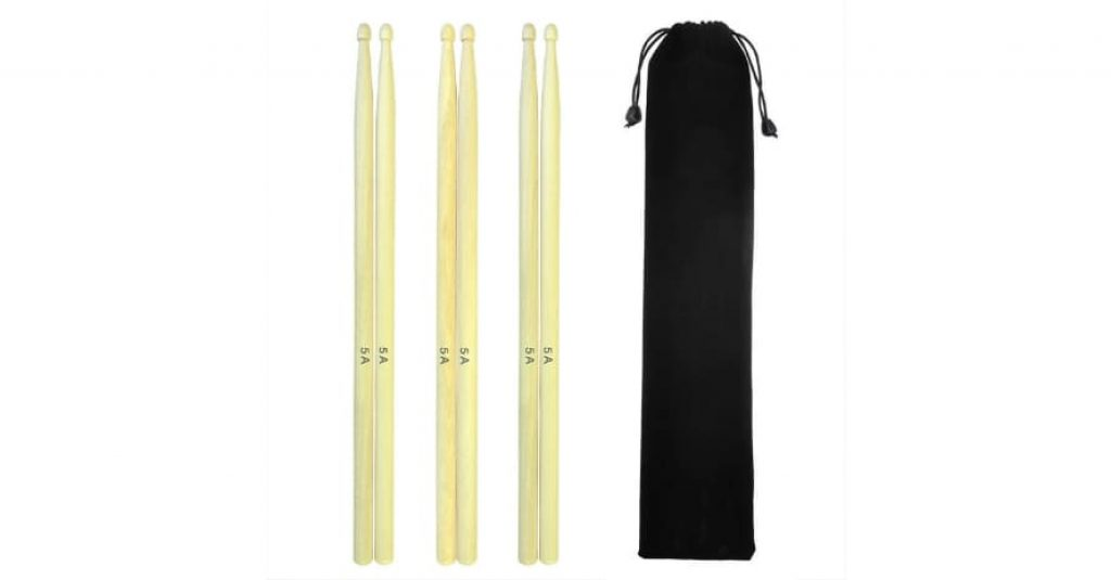 Sywon 5A Drum Sticks with Carry Bag 3 Pairs