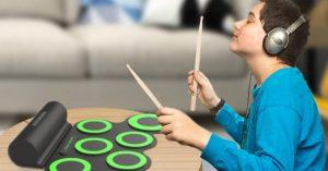 Boy play PAXCESS Electronic Drum Set