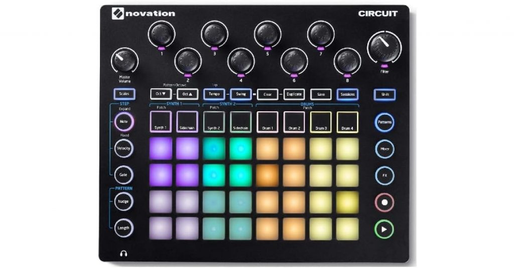 Novation Circuit Groove Box with Sample Import: 2-Part Synth, 4-Part Drum Machine and Sequencer