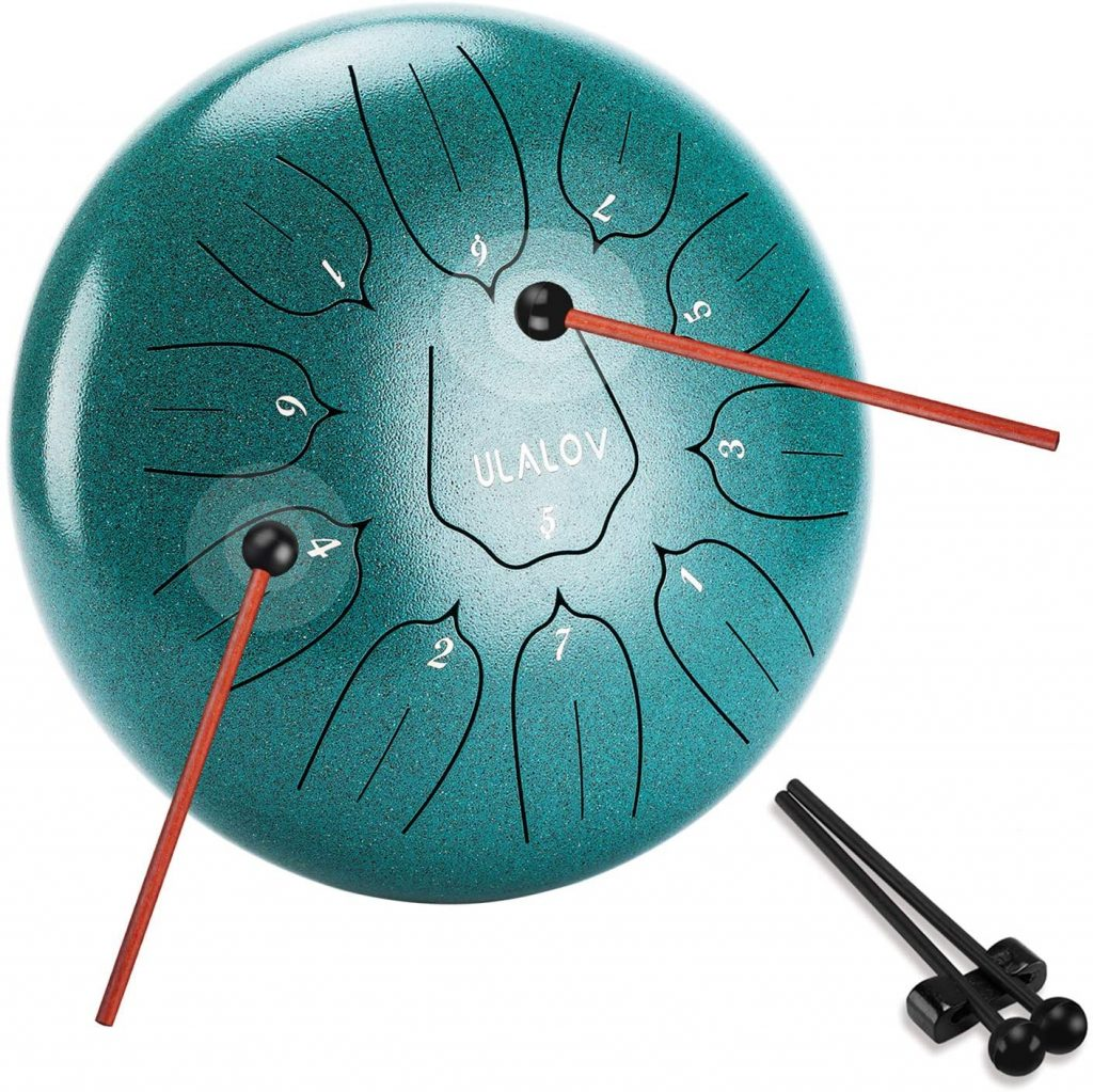Luvay Steel Tongue Drum with Bag Percussion Instrument Book Mallets 11 Notes 12 inches Finger Picks