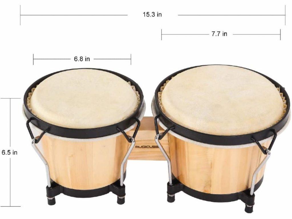 MUSICUBE Bongo Drum Set dimensions