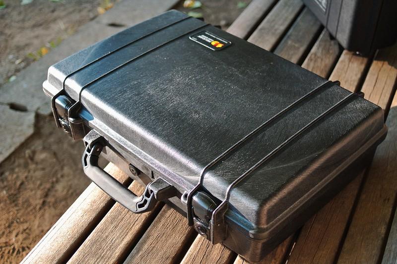 pelican case on bench