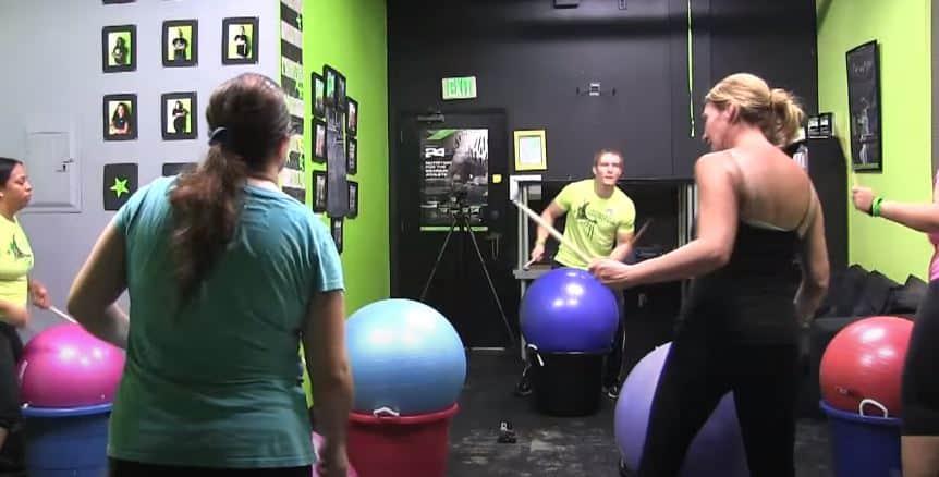 people doing cardio drumming exercises